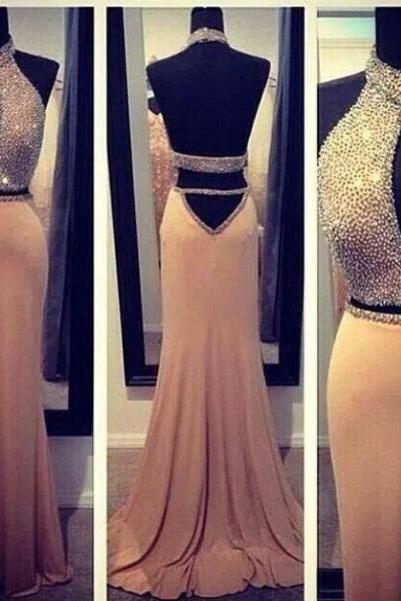 Custom Made A Line Backless 2 Pieces Prom Dresses, Party Dresses, Formal Dresses