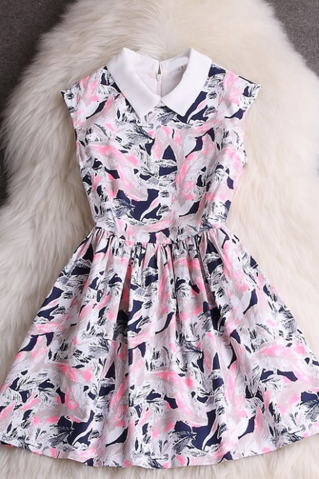 Sweet Printed Sleeveless Dress VC33009MN