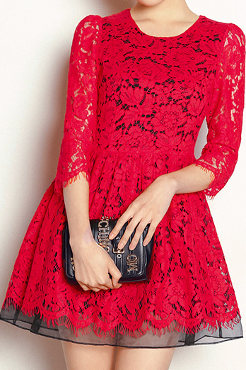 Red Lace Long Sleeve Dress