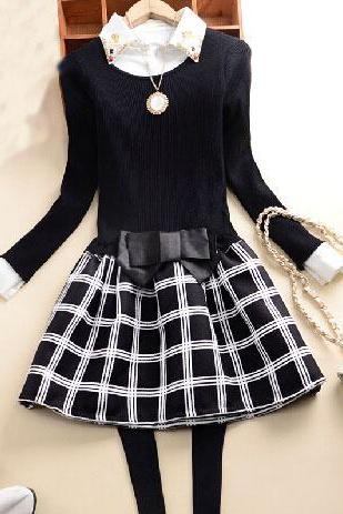 Sweet Bow Round Neck Long-Sleeved Dress AX101820ax