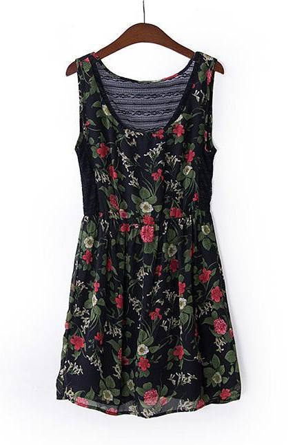 Ladies Chiffon Lace Flower Garden Style Stitching Waist Dress