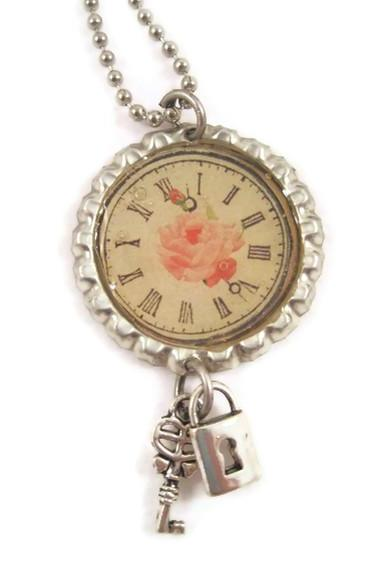 Necklace, Bottle Cap Pendant Necklace, Pink Rose, Roman Numeral Clock, Shabby Chic, Lock and Key Charms