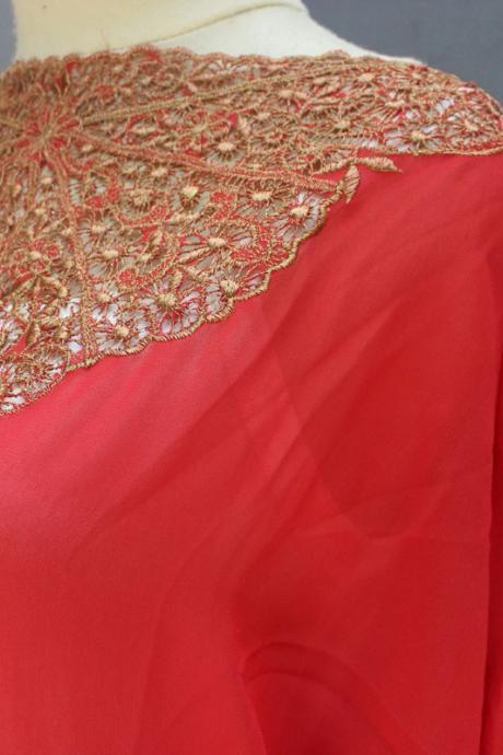 Fancy Red Caftan Dress Chiffon Embroidery Wedding Summer Party Kaftan