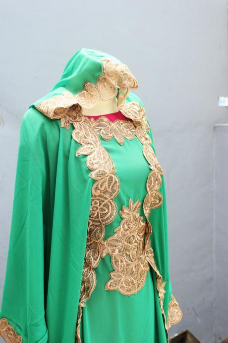 Green Kaftan Maxi Dress Caftan Dress With Fancy Gold Embroidery for Wedding Bridesmaid Party Summer