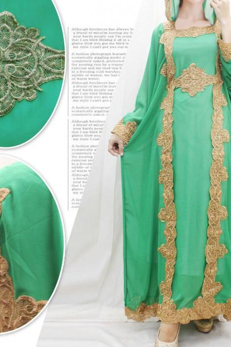 Full Embroidery Maxi Wedding Kaftan Dress Green Hoodie Chiffon Caftan