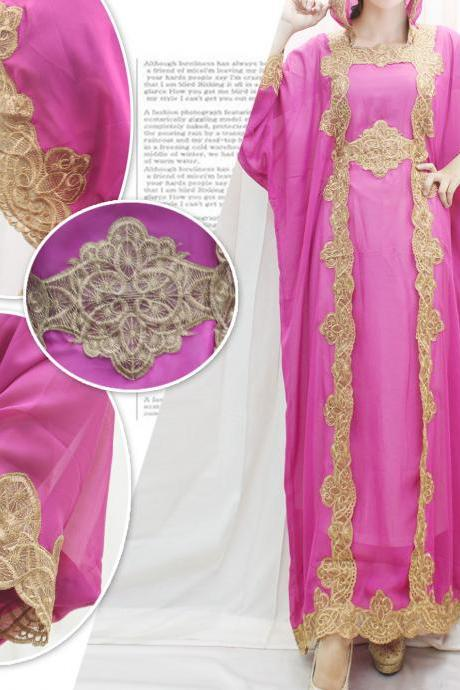 Abaya Maxi Dress Hoodie Kaftan Wedding Dress Pink Chiffon Caftan Gold Embroidery Dress