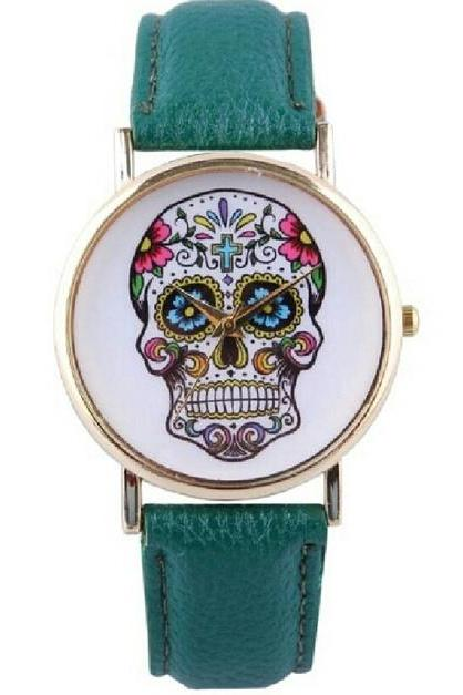 skull watch, skull leather watch, mint watch, leather watch, bracelet watch, vintage watch, retro watch, woman watch, lady watch, girl watch, unisex watch, AP0007