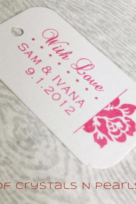 24 Side Rose Customised Gift Tags - Wedding Favor Tags - Thank you tags - Wedding Gift Tags