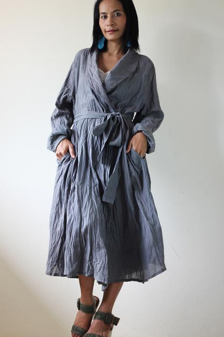 Long Trench Coat - Grey Stonewashed Autumn Winter Dress
