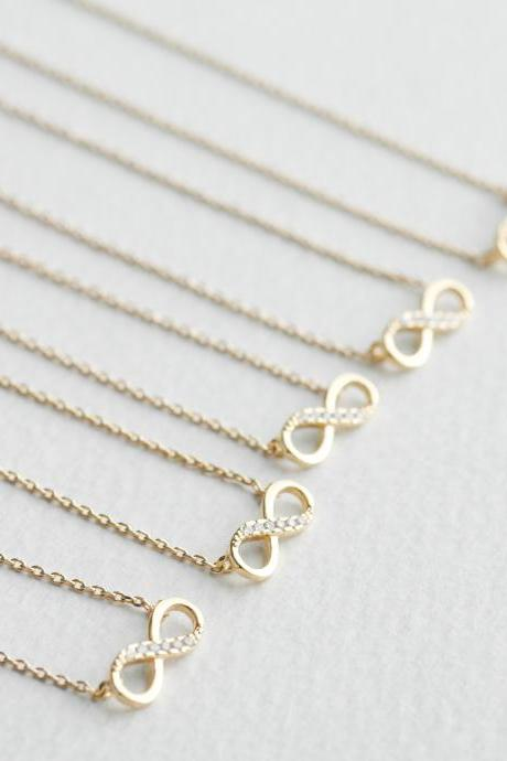 Bridesmaid gifts - Set of 5pcs - Simple Crystal infinity necklace