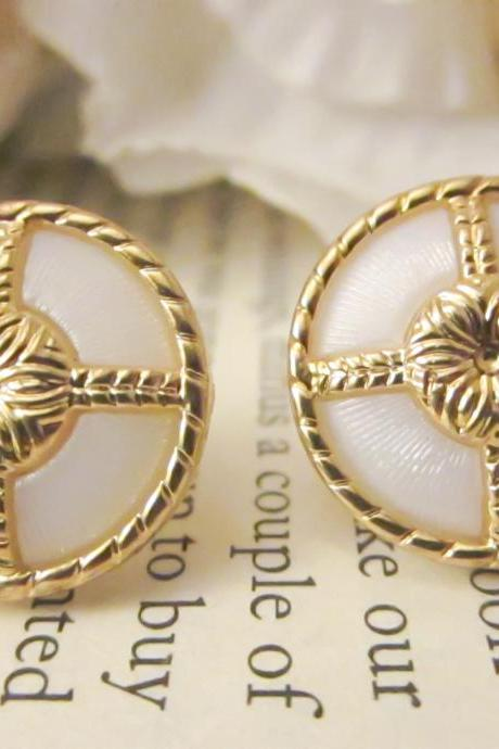 Vintage Nautical Style Earrings, Gold and White Studs, Bridesmaid Earrings, Jewelry, Fashion