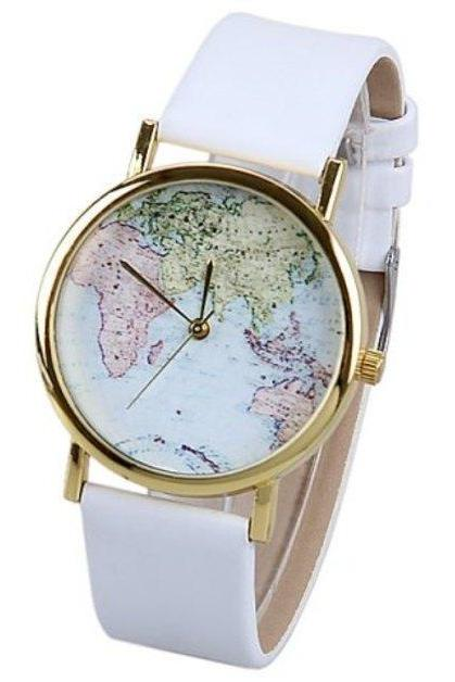 map watch, map leather watch, leather watch, bracelet watch, vintage watch, retro watch, woman watch, lady watch, girl watch, unisex watch, AP00020