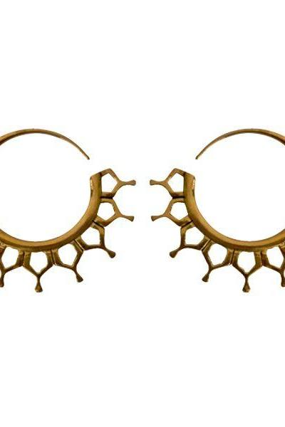 Tribal Brass Earring, Honey Comb