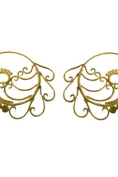 Tribal Brass Earring Spirals & Dots