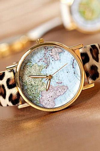 map watch, map leather watch, leopard watch, leather watch, bracelet watch, vintage watch, retro watch, woman watch, lady watch, girl watch, unisex watch, AP00023