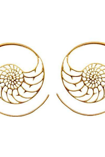 Tribal Brass Earring, Shell Ornament