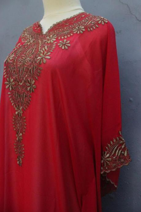 Elegant Red Caftan Dress Chiffon Wedding Summer Party Kaftan Embroidery Dress