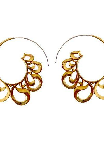 Tribal Brass Earring, Silver Hoops