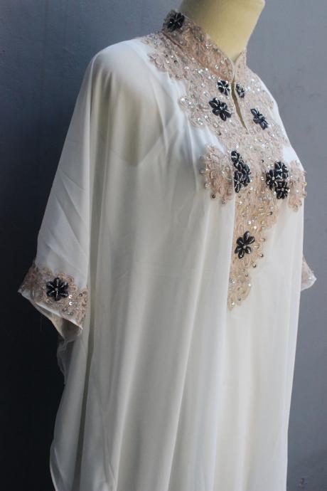 Petite Chiffon Wedding Summer Party Maxi Kaftan Dress White Caftan Sequin Dress Embroidery