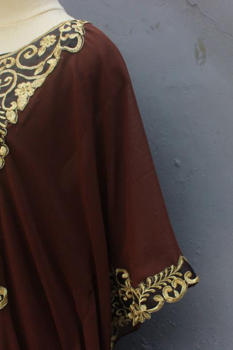 Party Summer Kaftan Maxi Dress Exclusive Dark Brown Caftan Dress With Fancy Gold Embroidery Great for Wedding Bridesmaid