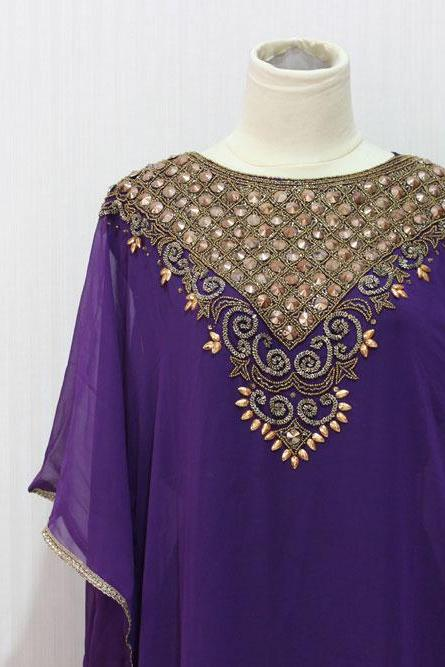 Gold Embroidery Dubai Abaya Caftan Maxi Dress Very Fancy Purple Sheer Chiffon Kaftan Moroccan