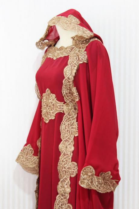 Red Maroon Hoodie Caftan Dress Petite Sheer Chiffon Wedding Kaftan Maxi Dress Dubai Gold Embroidery