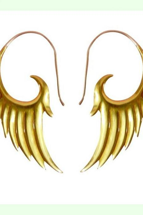 Tribal Brass Earring Angel Wing
