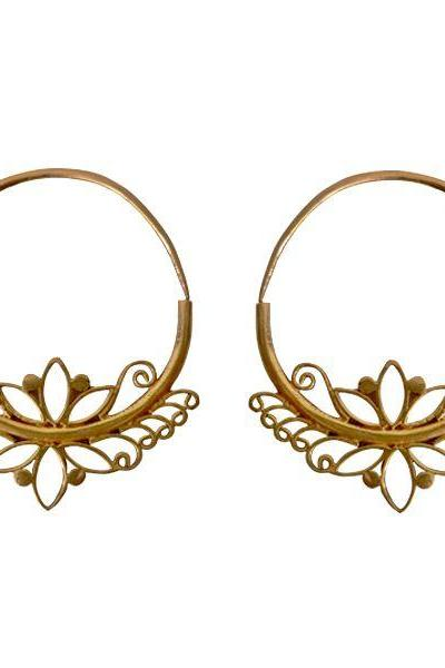 Brass Earring Lotus Flower