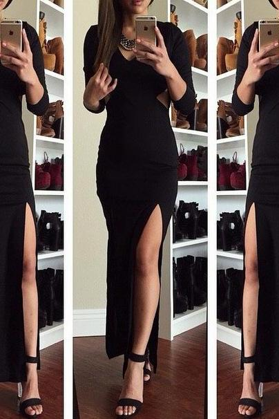 Dew waist split dress dress