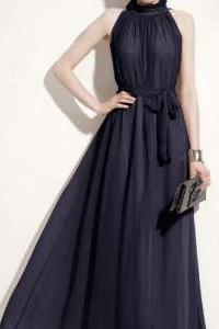 Chiffon Pleated Maxi Dress In Navy Blue