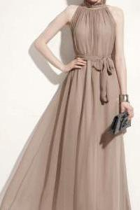 Chic Khaki Colored Chiffon Maxi Dress