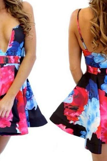 Sexy Elegant Floral Strap Bandeau Sleeveless Open Back Slim Fit Prom Party Skater Women's Fashion Dress