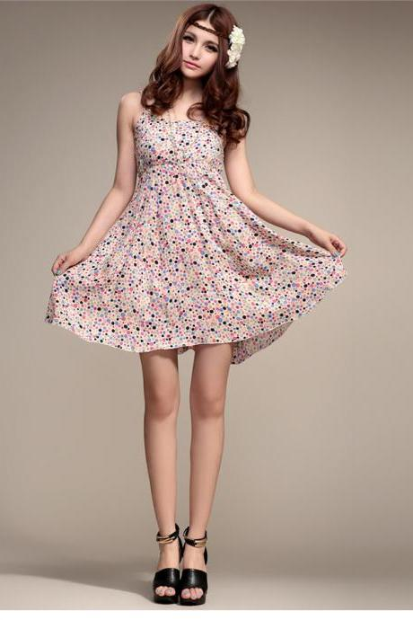 Sexy 2014 Fashion Spring New Korean Version Of The Small Floral Fresh And Sweet Bottoming Dress