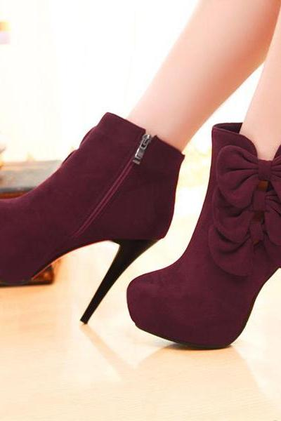 Elegant Bow Embellished Stiletto Heel Fashion Boots KMS14UK