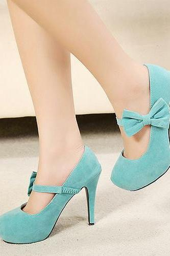 Fashion Round Head With Bow Thin High Heels Shoes For Lady KMS25YR