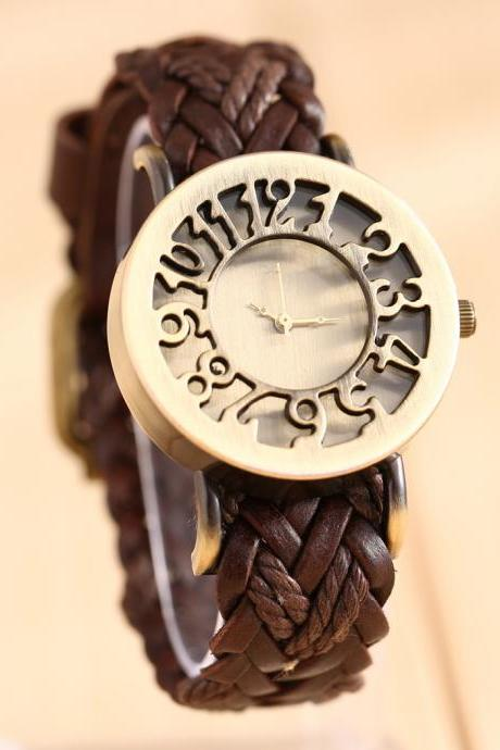 hollow watch, leather watch, bracelet watch, vintage watch, retro watch, woman watch, lady watch, girl watch, unisex watch, AP00044