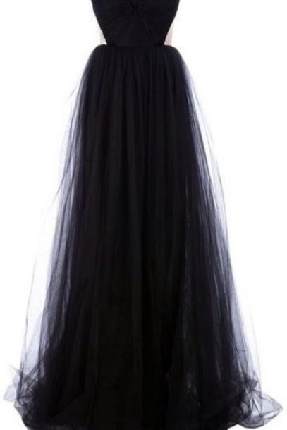 Custom Made Black Sweetheart Neck Floor Length Prom Dresses, Long Black Homecoming Dresses
