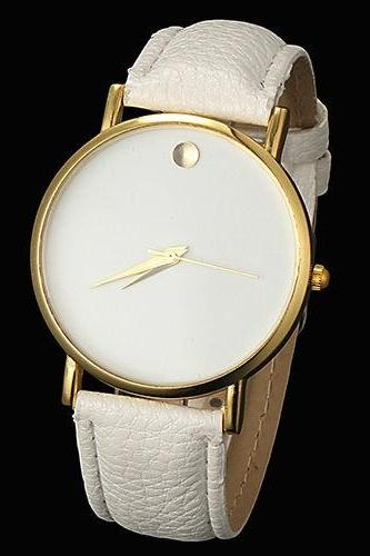 simple watch, white leather watch, leather watch, bracelet watch, vintage watch, retro watch, woman watch, lady watch, girl watch, unisex watch, AP00069