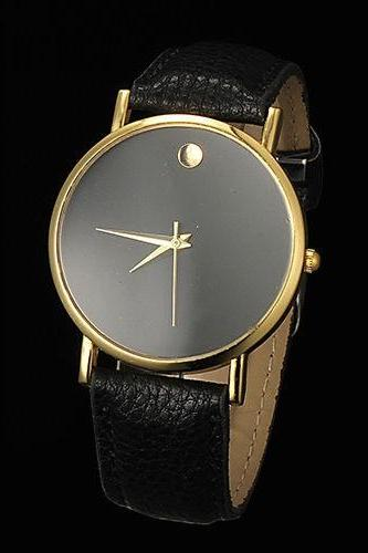 simple watch, black leather watch, leather watch, bracelet watch, vintage watch, retro watch, woman watch, lady watch, girl watch, unisex watch, AP00070