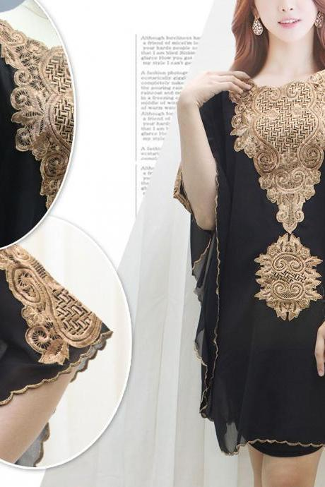 Gold Embroidery Kaftan Black Tunic Caftan Dress Wedding Party Summer