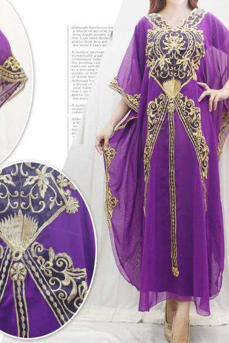 Fancy Maxi Dress Wedding Kaftan Dress Purple Chiffon Caftan Embroidery