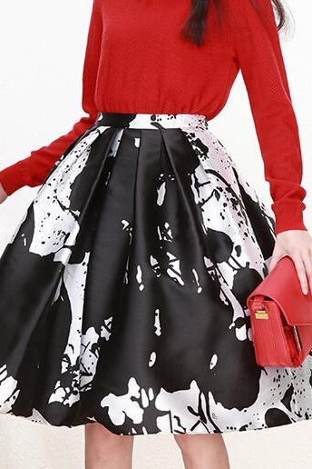 Beautiful Casual Graphic Midi Pleated A-Line Skirt