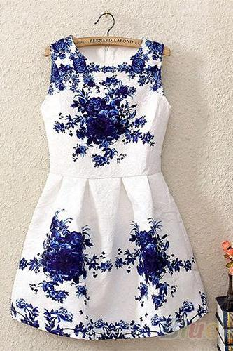Nice Summer Women Sleeveless White And Blue Porcelain Floral Printed Dress