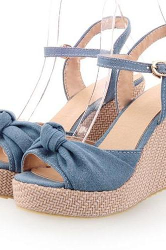 Denim Wedge Sandals Featuring Bow Accent and Ankle Straps