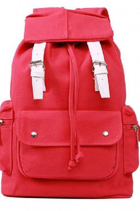 Casual Travel School red Canvas Girl Backpack