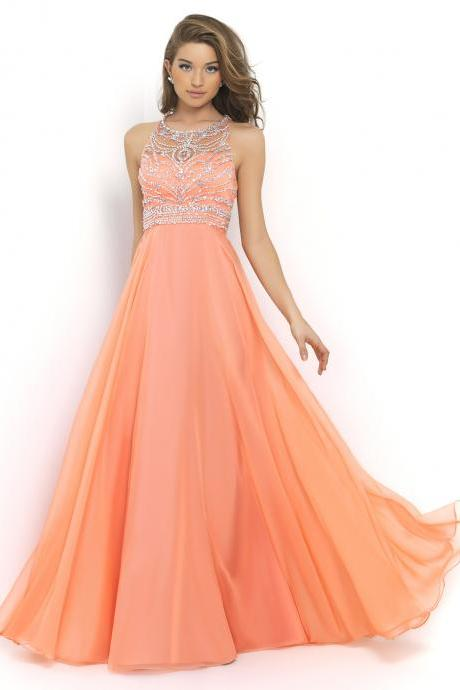 Ulass chiffon skirt orange ball gown 2015 REINS bandage unbacked sparkling beaded ball gown