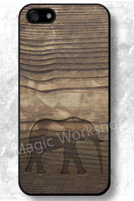 iPhone 4 4S 5 5S 5C 6 6 Plus case, iPhone 4 4S 5 5S 5C 6 6 Plus cover, Elephant On Wood