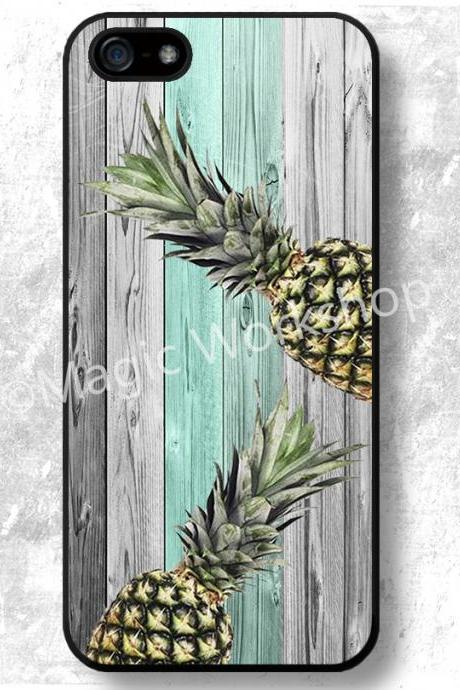 iPhone 4 4S 5 5S 5C case, iPhone 4 4S 5 5S 5C 6 6 Plus cover, Pineapples on wood texture