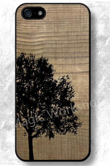 iPhone 4 4S 5 5S 5C 6 6 Plus case, iPhone 4 4S 5 5S 5C 6 6 Plus cover, Tree On Wood Texture