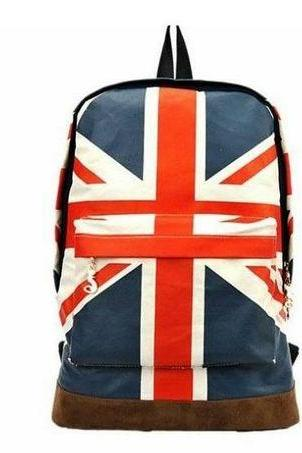UK Flag Canvas Girl Backpack